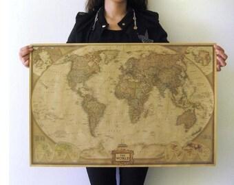 Vintage Retro The World Map Paper Poster Large Art Print