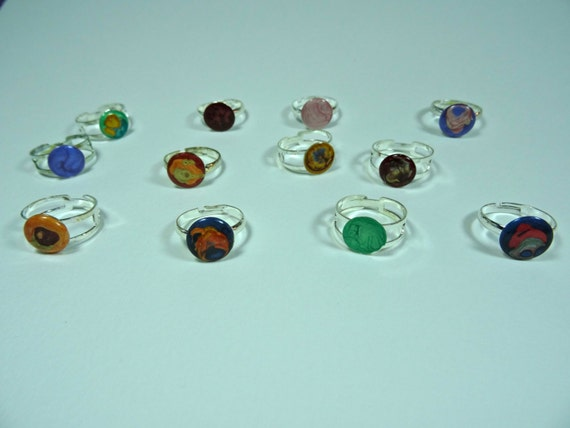 Enamel-like silver-plated adjustable ring with abstract designs (multi-colors).