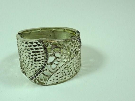 Vintage silver color metal elastic adjustable bracelet bangle4