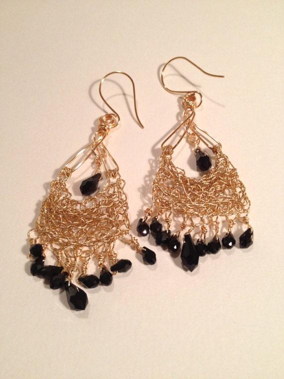 Handmade eastern-look 14k gold-filled long wire crochet earrings with black Swarovski crystal drops