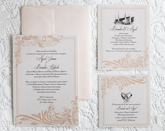 Coral Flourish Wedding Invitation -  LDS Wedding Printable Invitation