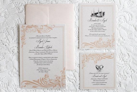 coral flourish wedding invitation lds wedding printable invitation