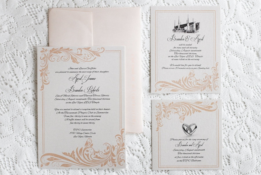 coral flourish wedding invitation lds wedding printable