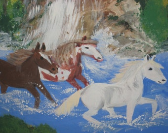 Three HORSES by a WATERFALL by Maxine Dunninger