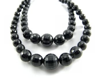 1950's Vintage Two Strand Graduated Black Faceted Necklace, Mad Men Era