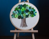 Green button tree embroidery hoop art