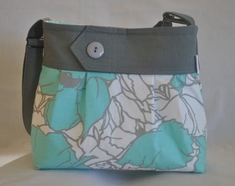 Grey and teal floral purse, damask, bag, purse with teal with button