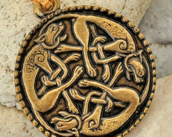 CELTIC KNOTTED CATS Irish Brass Pendant Book of Kells