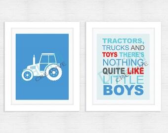Art Print - Tractor Nursery Art - Boys Nursery Decor -  Blue Bedroom Art - Tractor Bedroom Decor - Digital File!
