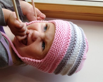 0-3-6 -12 Months, Pink, grey, white Merino wool earflap hat for baby / toddler girl, bonnet, Pilot hat, hand knitted. MADE TO ORDER