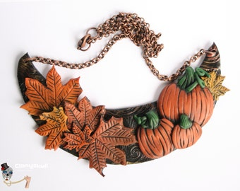 Collar with pumpkins. Halloween.