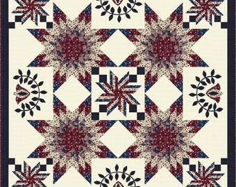 Pride & Glory Fabric Collection by RJR, Patriotic Fabric Kit, Red White and Blue Fabric Kit, Americana Quilt,  Stunning Appliqued and Pieced