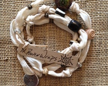 Ivory Silk Ribbon with Labyrinth Charm (meditation and clarity)