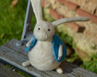 Little Needle Felt Rabbit in a Blue Waistcoat ,Handmade,Bunny,Hare,Woodland,Critter,Needlefelt,Soft Sculpture,Fibre Art, OOAK, Miniature