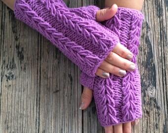 Purple Magenta Fingerless Gloves Cozy Mittens Handknit Gloves Handwarmer Armwarmer Winter Fashion