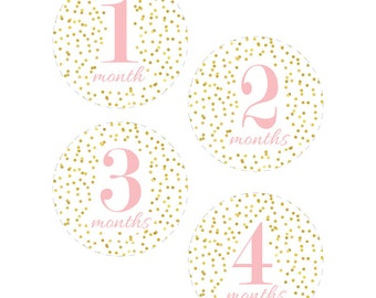 Baby Month Stickers Printable, Gold and Pink, Dots, Baby Girl