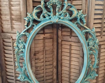 Baroque Frame Turquoise Gold Large Ornate Frame Wedding Photo Prop Picture Frame Vintage Shabby Chic Home Decor