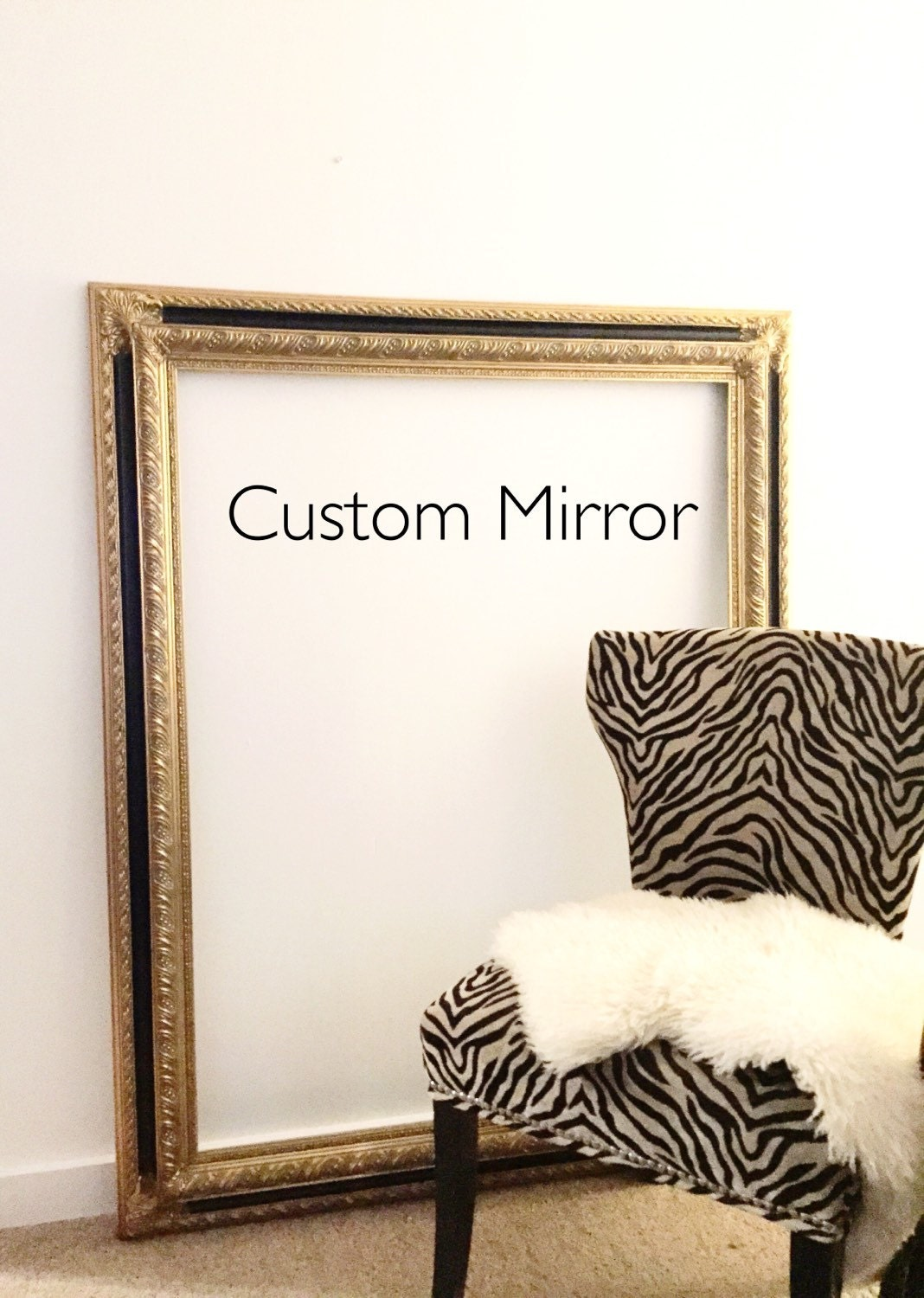Large gold leaning mirror baroque mirror dressing room for Baroque bathroom mirror
