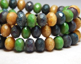 8x6mm Mixed Rustic Czech Beads, Green Beads, Earthy Beads, Rustic Beads, Glass Beads Rondell Beads, Mixed Beads, Faceted Beads T-73D