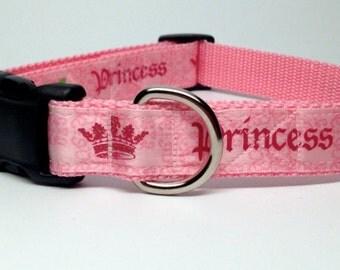 Pink Princess Dog Collar, Adjustable Quick Release Medium, Large, Extra Large 1 inch