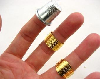 1set 3pcs Thimble adjustable thimble ring Sewing Quilting Metal Thimble simple DIY Craft Finger Protector quilting