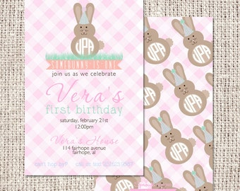 Bunny or Easter Birthday Party Invitation