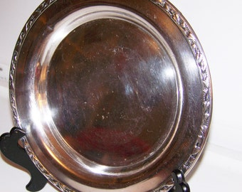 Antique Rogers Silverplate Tray, Raised Heart, Ivy Border, Marked Meadowbrook WM.A. Rogers