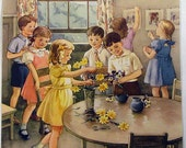 Children Helping Color Print 1956 When We All Help Vintage Print Wall Art Teaching Pictures Home Decor Kindergarten