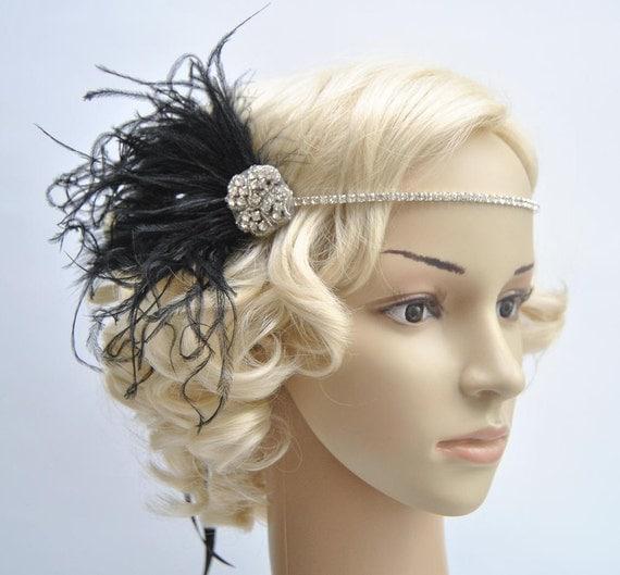 Crystal Rhinestone Headband Headpiece 1920s flapper gatsby