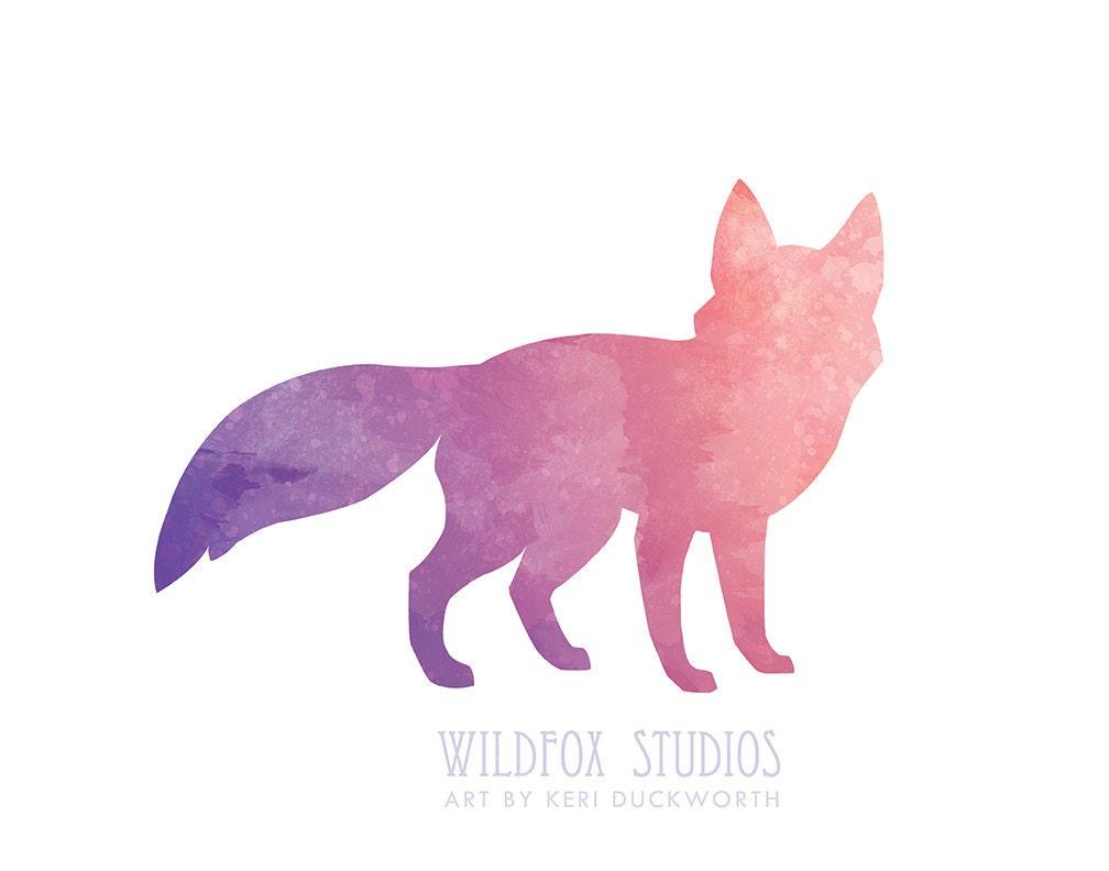 Watercolor fox silhouette 8x10 downloadable wall art print