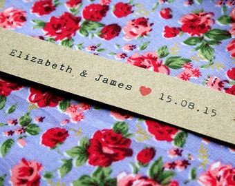10 Personalised Wedding Tags - Kraft, Flag Shaped, Heart, Names and Wedding Date, Favour Tags