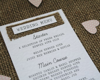 Rustic Hessian Wedding Menu - Hammered Card, Shabby Chic