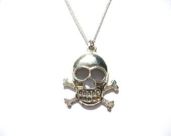 Skull Necklace  Pirate Necklace  Skull and Crossbones Necklace  Pirate Jewelry Jolly Roger Skull Jewelry Pirate Gifts Under 20
