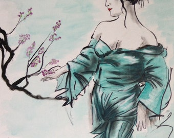 "16""x20"" Abstract Painting/Art of Asian Woman/Geisha Girl"
