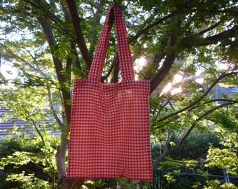 Medium/large red gingham cotton bag