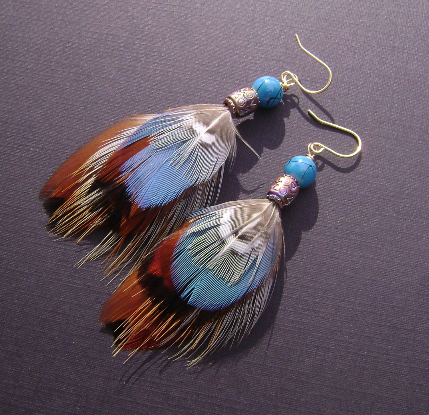 feather earrings blue feathers pheasant feather