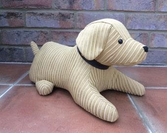 Dunston, dog doorstop in gold corded fabric