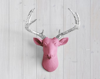 Fuchsia Mini Deer + Silver Glitter Wall Charmers™ - Pink Faux Head Fake Animal Resin Ceramic Taxidermy Fauxidermy Decor Mount Antler Art