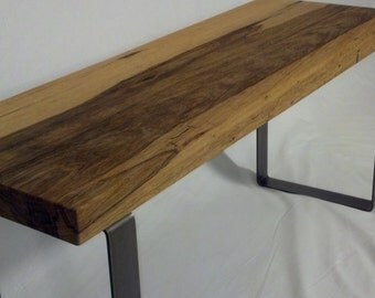 Exotic wood Entryway Bench with Steel Legs.