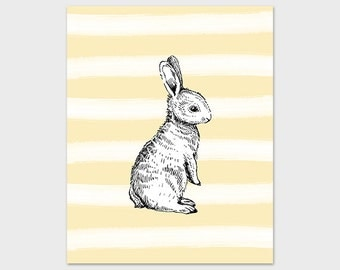 Rabbit Nursery Art Print Printable 8x10 Pale Yellow Stripes Nursery Decor Instant Download Digital Art