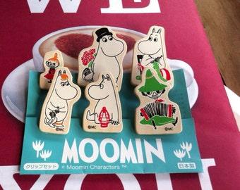 Kawaii Moomins set of 6 wood clips from Japan