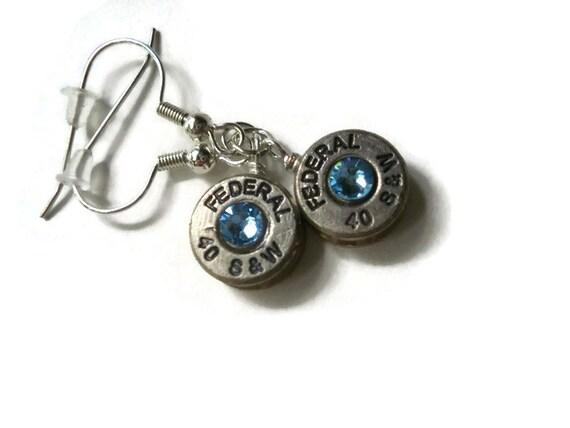 bullet earrings 40 caliber brass bullet casing dangling