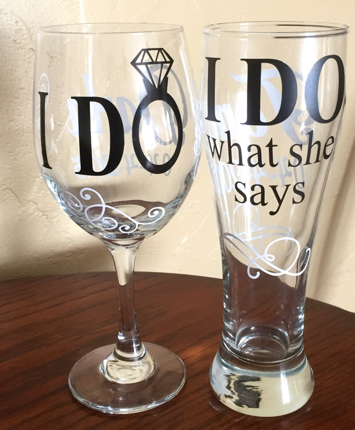 Wine As Wedding Gift: I Do / I Do What She Says Wedding Wine Glass&Pilsner Glass