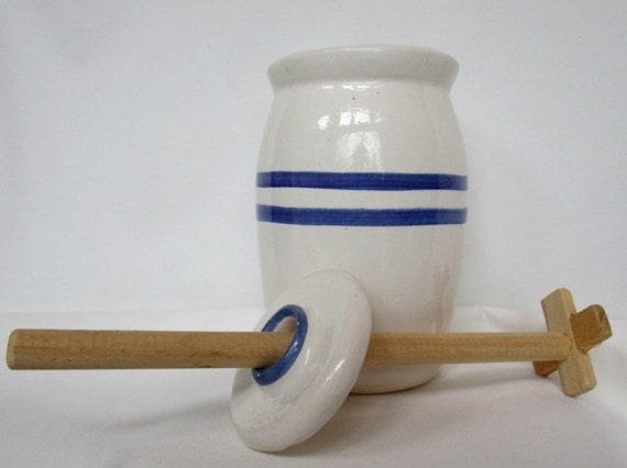 Vintage Stoneware Butter Churn By Cash Family Pottery W Cap