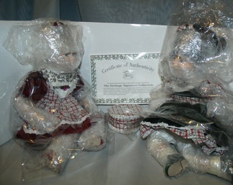 nib,new,lot,2,dolls,rare,christmas,stephanie,sabina,hat,box,certificate,of,authenticity,marble,porcelain,hand,painted