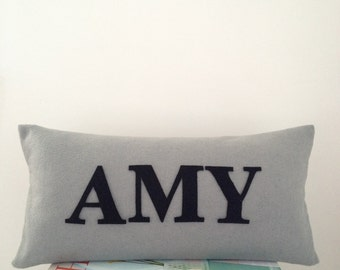 Personalised Name Cushion on Light Grey Cushion/ Pillow