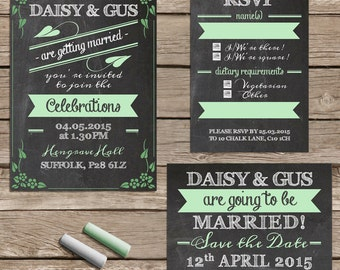 Blackboard and chalk wedding invitation