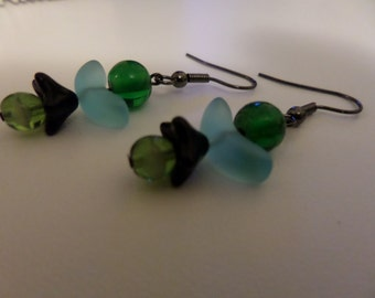 Green and Blue Angel Earrings