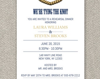 Rehersal Dinner Invitation -  We're Tying The Knot - Digital File Available