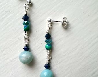 Ocean blues handmade beaded dangle earrings